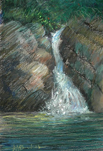 "Santa Cruz Waterfall 9""x12"" Oil Pastel on Paper"