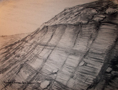 "Martian Cliff 12""x16"" Charcoal on Mi Tientes Paper"