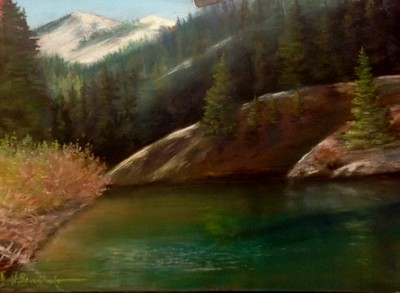 """Snag Lake"" 12 1/2"" x 19 1/2"" Soft Pastel on La Carte Sanded Pastel Paper"