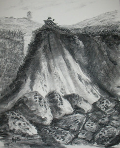 "Coastal Cliff Path 14""x17"" Charcoal on Paper Collection of the Artist"