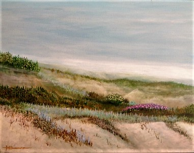 "Misty Morning on the Dunes 18""x24"" Acrylic on Canvas Classroom Demo"