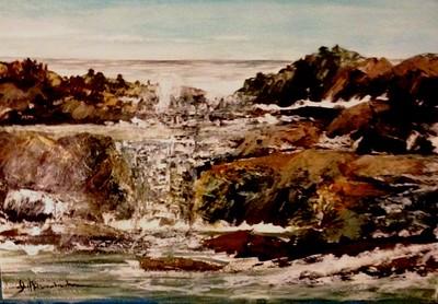 """Coastal Waterfall"" 15""x 22"" QOR Watercolor on 140lb. C/P Fluid W/C Paper"