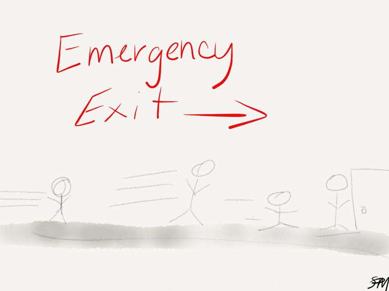 """Emergency Exit Sign"" by Sydney Mack"