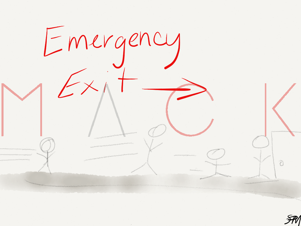 """Emergency Exit Sign"" by Sydney Mack"