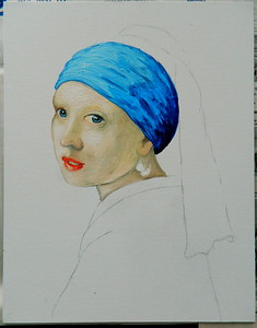 8 Homage to Vermeer - Girl With A Pearl Earring, 11x14, oil, july 13, 2016  DSCN0124