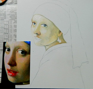 4 Homage to Vermeer - Girl With A Pearl Earring, 11x14, oil, july 12, 2016  DSCN0118