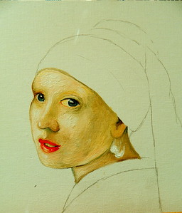 7 Homage to Vermeer - Girl With A Pearl Earring, 11x14, oil, july 12, 2016  DSCN0121