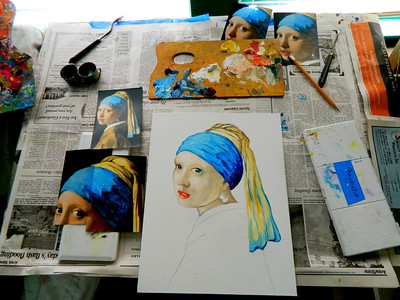 9 Homage to Vermeer - Girl With A Pearl Earring, 11x14, oil, july 13, 2016 DSCN0125