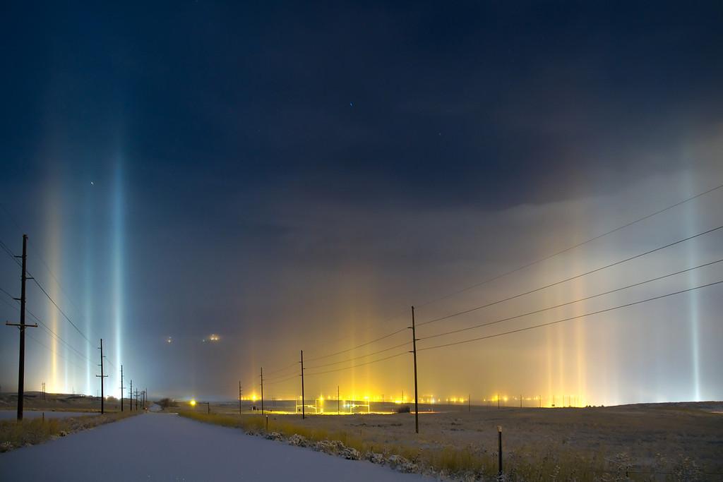 Light pillars @ West Side; Salt Lake Valley, Utah