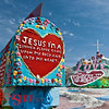 Salvation Mountain– Niland, CA<br /> Out of the simmering  heat, the faint smell of salt and rotting fish hints the air.  Not far from the Salton Sea rises up a  man made mountain of worship..