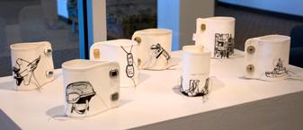 Links<br /> Vintage cuffs, ink, thread<br /> Nancy Rogers, MFA  Fall '09