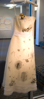 Steve Couldn't Come to the Prom<br /> Found dress, ink, thread, acrylic<br /> Nancy Rogers, MFA  Fall '09