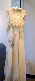 War Bride Series<br /> Vintage wedding dress, thread, beads, lace<br /> Nancy Rogers, MFA  Fall '09