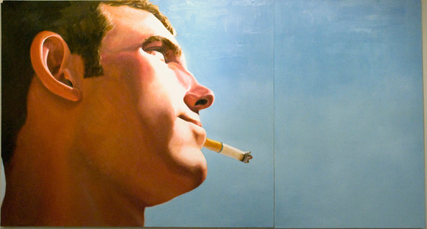 Jon with Cigarette<br /> Oil on Wood<br /> Emily Reid, BFA  Fall '09
