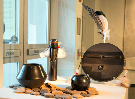 Lucas Todd, BFA 2014<br /> Black Indian Clay <br /> Kachina Doll and Bowls and<br /> Plate