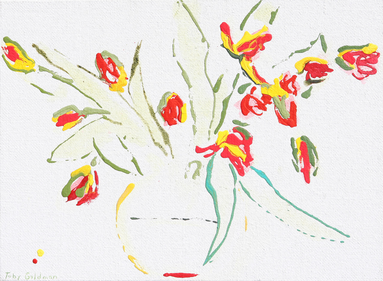 6393 - Red, Green and Yellow Tulips - 14x19 - Acrylic on Jute
