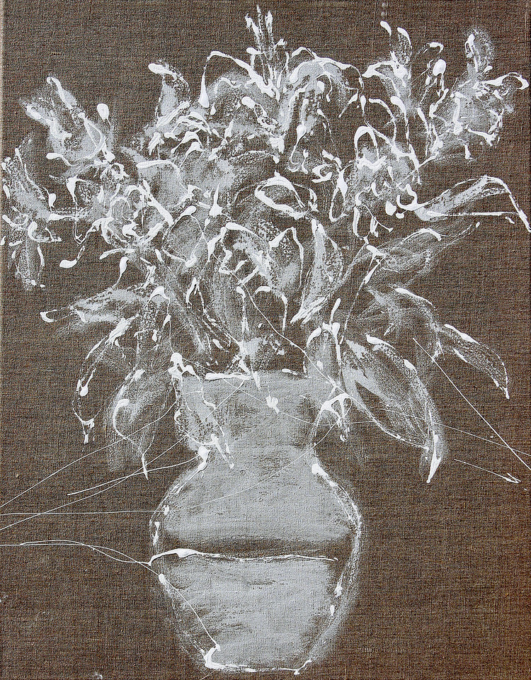 6349 -  White Bouquet 29,  28 x 22 acrylic on linen