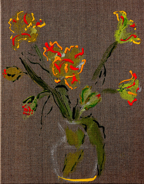 6373 - Parrot Tulips - 20x16 - Acrylic on Linen