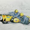 1-Mac Hobson & Geoff Atkinson, BSA 750, 1970 Isle of Man TT 14x17, graphite & color pencil, sep 14, 2015  DSCN0864