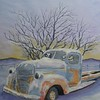 1-Winter Twilight - Abandoned Truck, 9x11 5, watercolor, completed  july 8, 2015 CIMG0174 CIMG0174ss