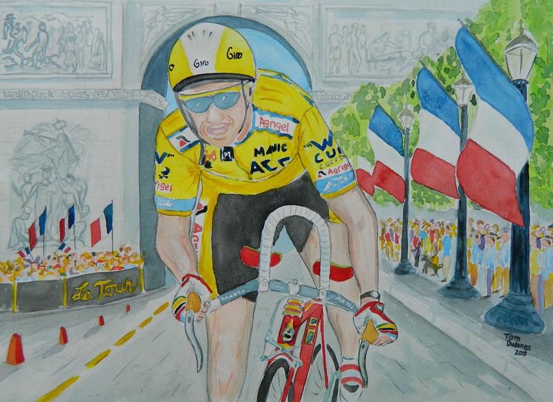 1-Greg Lemond, 1989 Tour de France, Paris, 11x15, watercolor, completed sep 1, 2015 DSCN0807