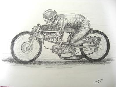 Aalt Toersen, 50cc Kreidler record attempt, 14x17, graphite pencil, completed march 10, 2015.C