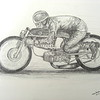 Aalt Toersen, 50cc Kreidler - record attempt, 1968, Elvington RAF, UK.14x17, graphite pencil, completed march 10, 2015.