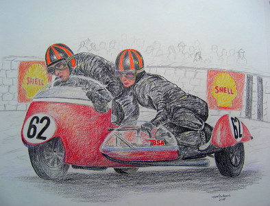 Norman Hanks and Rose Arnold, 1968 IOM TT.  14x17, color pencil, feb 9, 2015.I