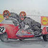 Norman Hanks and Rose Arnold, 1968 IOM TT.  14x17, color pencil, feb 9, 2015.I