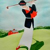 1-Lady Playing Westchester CC, 1920  9x11 5, watercolor, nov 20, 2015 DSCN9109