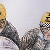 Detail - Dane Rowe and Bill Copson, Isle of Man  1969 TT  14x17, color pencil, jan 16, 2015