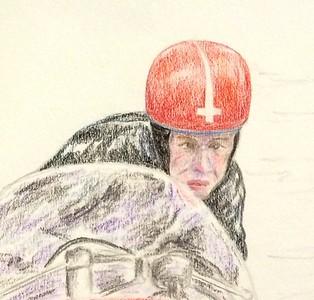 Detail - Claude and Marie Lambert, Isle of Man, june 12, 1961  14x17, color pencil, feb 3, 2015 a