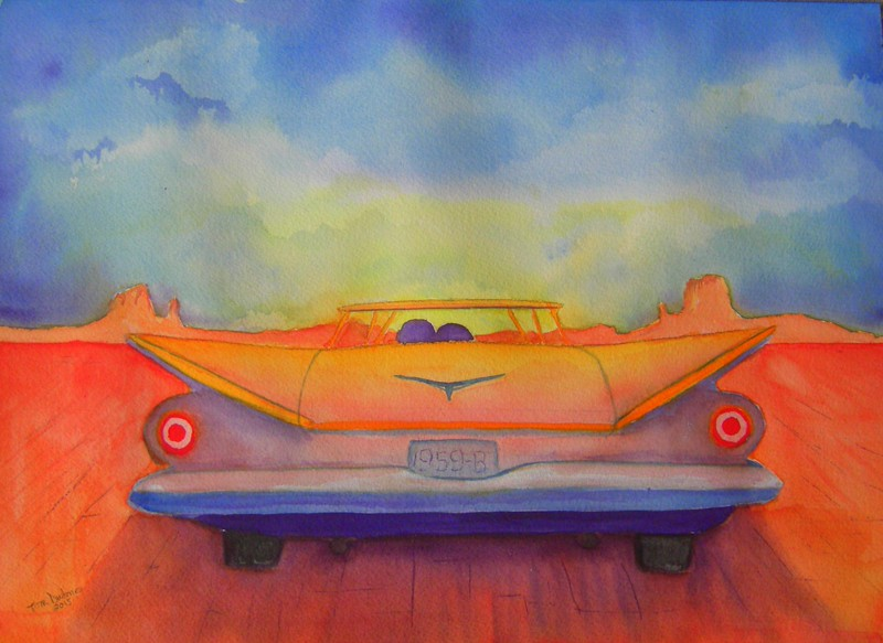 Electra; Sunset; 1959; Buick; Electra.; 10.5x14; watercolor; april 1,  2015