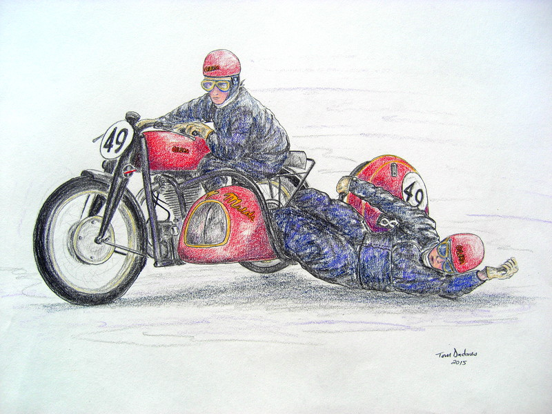 Ernesto Merlo & Dino Magri, Gilera, 500 Swiss GP, 27 may 1951. 14x17, color pencil, march 17, 2015.