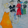 Bicycle Ladies, 14x17, watercolor, july 25, 2015 CIMG1292