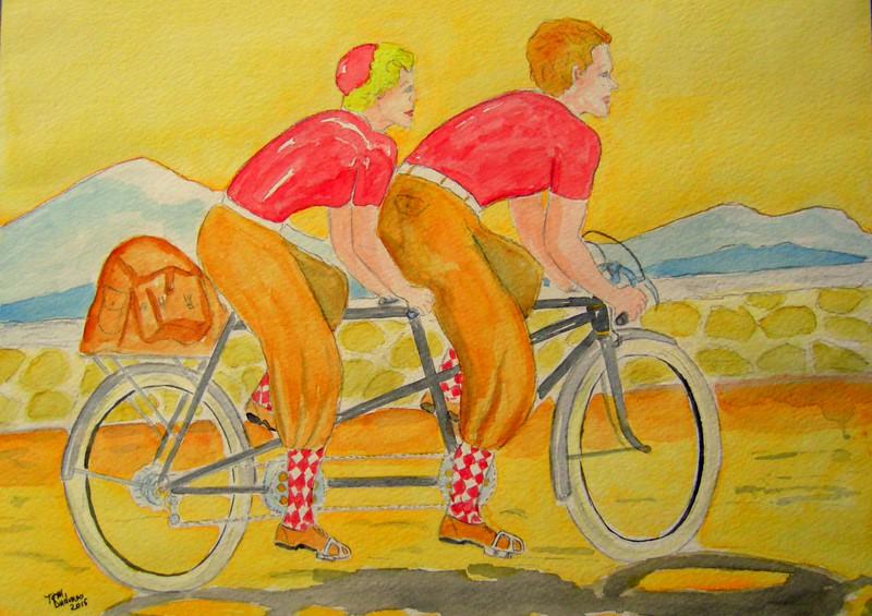 1-Tandem Randonneuring - 1920  11x15, watercolor & graphite pencil, july 30, 2015 CIMG1306