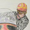 Detail - Ray Foster late in 1958   14x17, color pencil, jan 23, 2015