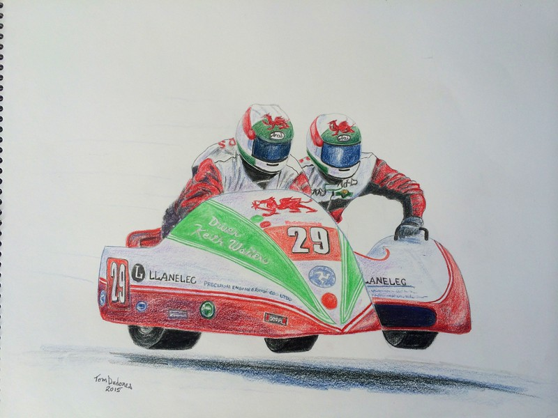 Keith Walters & Alun Thomas Chimay,TT, Isle of Man, 2010. 11x14, color pencil, jan 13, 2015.
