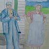1-Grandpa & Grandma - on the Farm, 9x12, watercolor r & graphite pencil, aug 1, 2015 CIMG1309