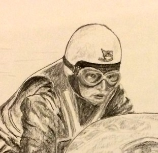 Detail - Colin Seeley & Walter Rawlings, Isle of Man, practice lap, about 1966   11x14, graphite pencil, jan 9, 2015