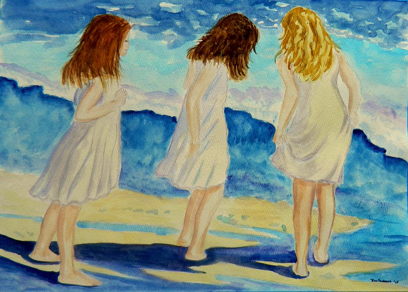 Sisters at the Shore, 11x15, watercolor, oct 30, 2015.