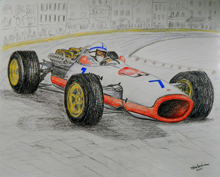 1-John Surtees, Monaco GP, 1967  14x17, graphite & color pencil, sep 9, 2015 DSCN0827