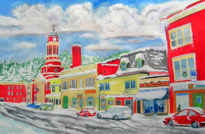 Main Street, Saranac Lake. 15x22 watercolor finish april 9, 2015.CIMG9722