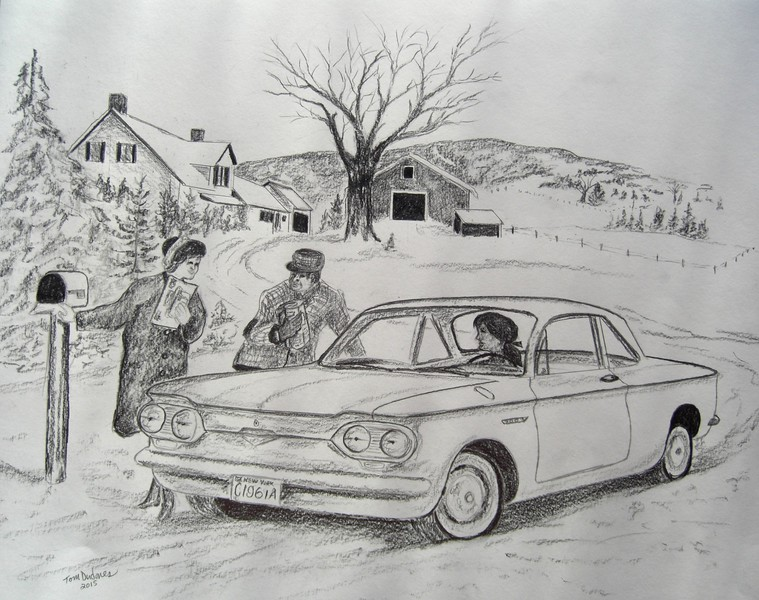 Getting the Mail - 1961 Corvair; 14x17; graphite  pencil; april 13.  2015