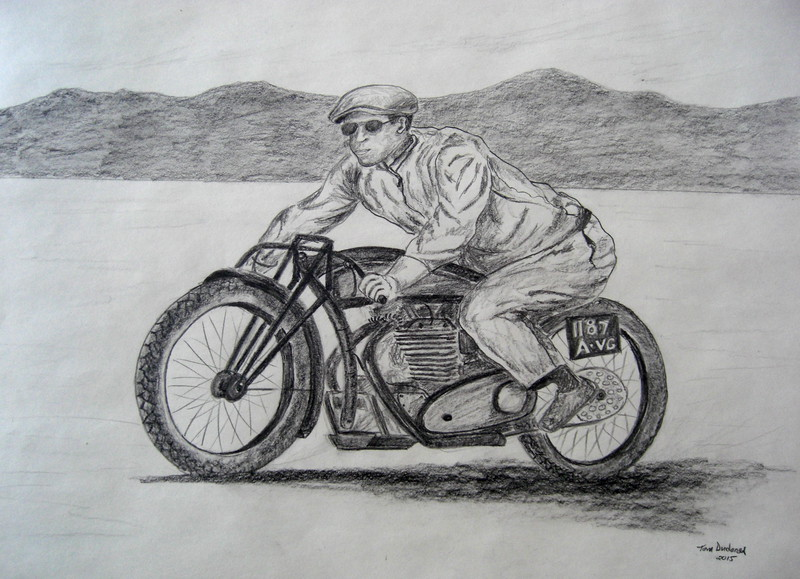 Jean Claude Barrois JAP--rudge-whitworth at Bonneville , 2010. 18x24, graphite pencil, march 18, 2015.C