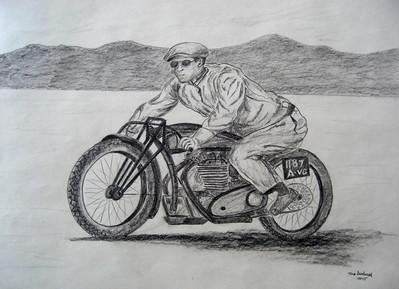 Jean Claude Barrois JAP--rudge-whitworth at Bonneville , 2010. 18x24, graphite pencil, march 18, 2015.C