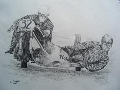 Eric Oliver, Stan Dibben, Spa-Francorchamps, 1953. 11x14, graphite pencil, 2015 .