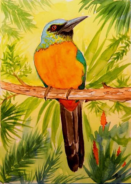 1-Great Jacamar - Panama  6x8 5, watercolor, dec 4, 2015 DSCN9171A