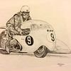 Colin Seeley & Walter Rawlings, Isle of Man, practice lap, about 1966   11x14, graphite pencil, jan 9, 2015