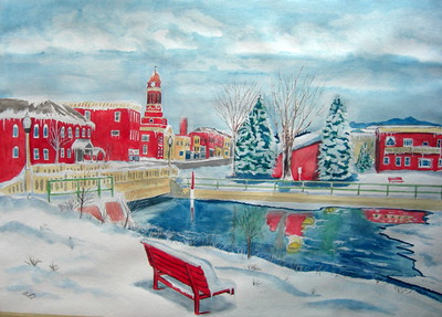Lake Flower - Christmas Morning, 2009, 21x29, watercolor, march 12, 2015.